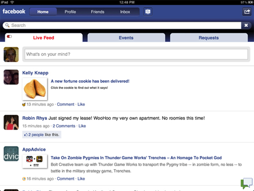 Facebook, Friendly, app, iPad