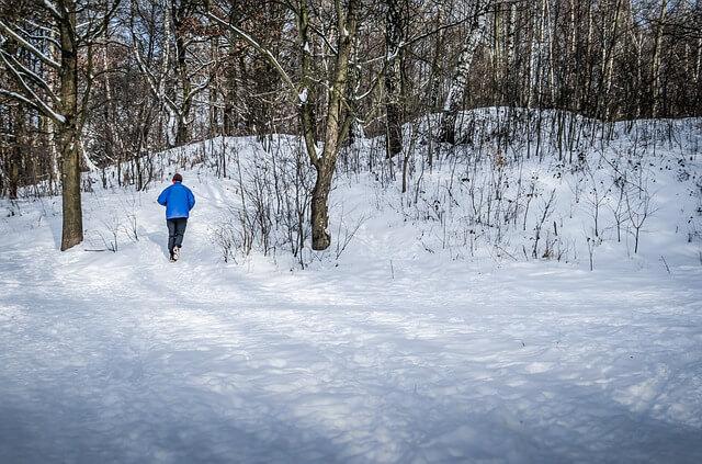löpning i snö och is, vinter